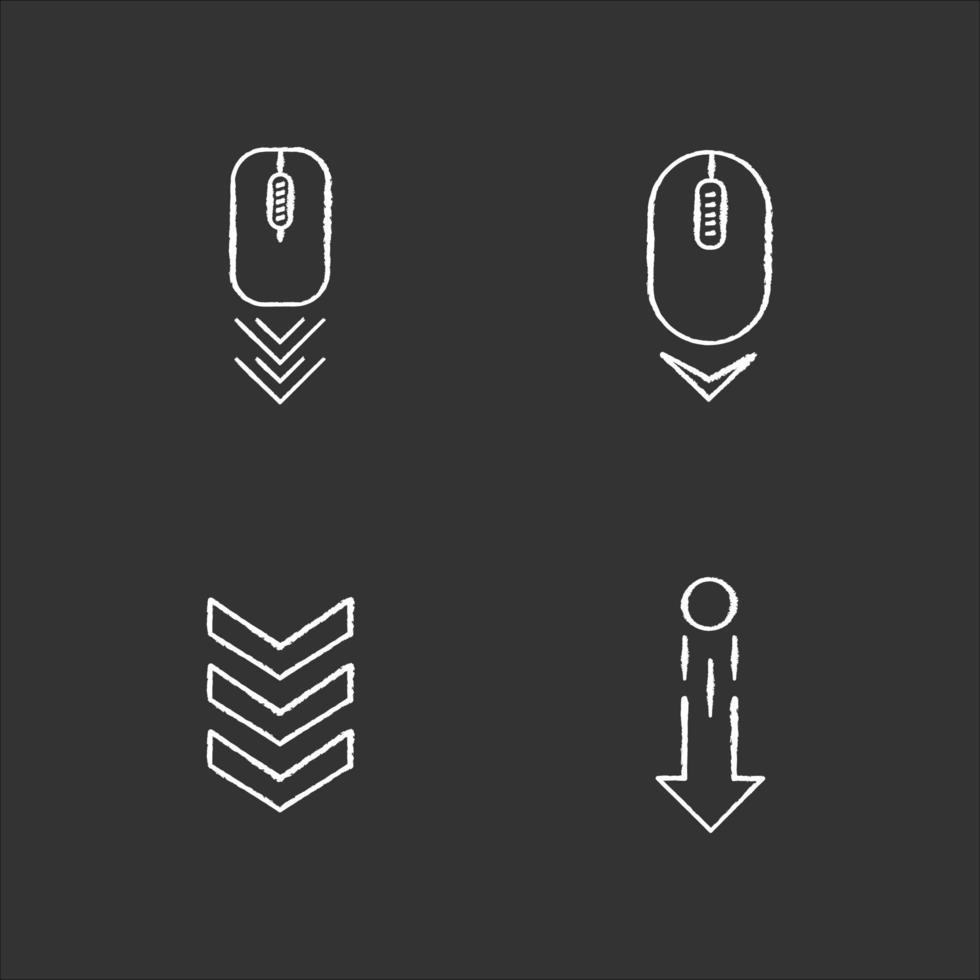 indicateurs de défilement craie icônes blanches sur fond noir. souris d'ordinateur et pointes de flèches. faites glisser le geste vers le bas. curseur de navigation de page de site Web. illustrations de tableau vectoriel isolé