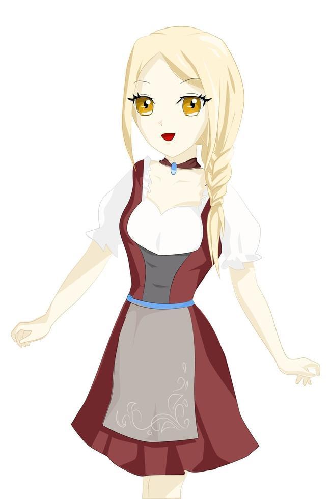 fille aux cheveux jaunes, yeux bruns et tenue oktoberfest rouge vecteur
