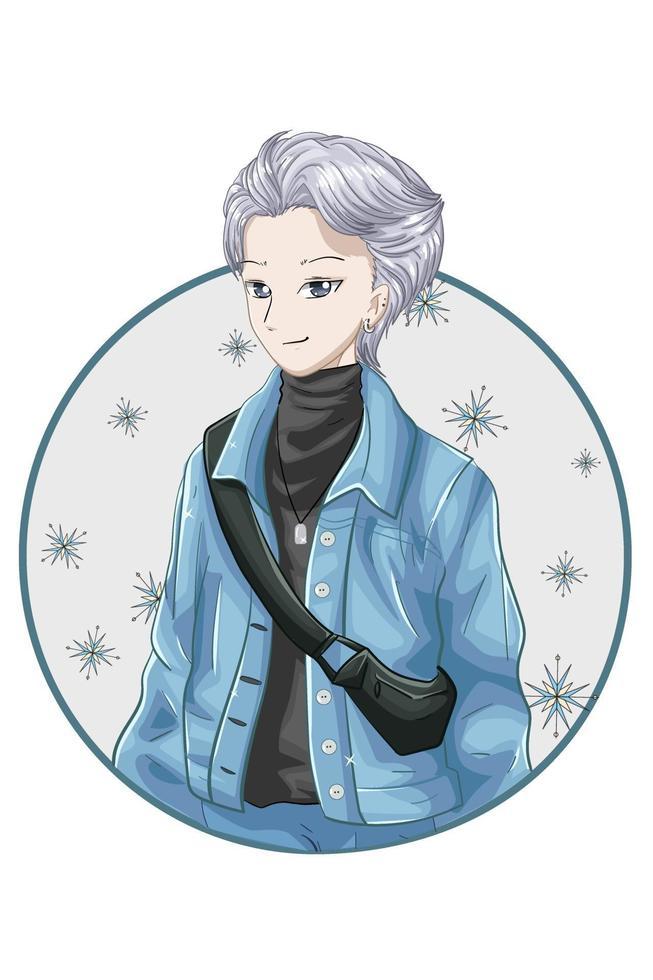 Beau garçon anime cheveux argenté portant une veste bleue et un col roulé noir vecteur