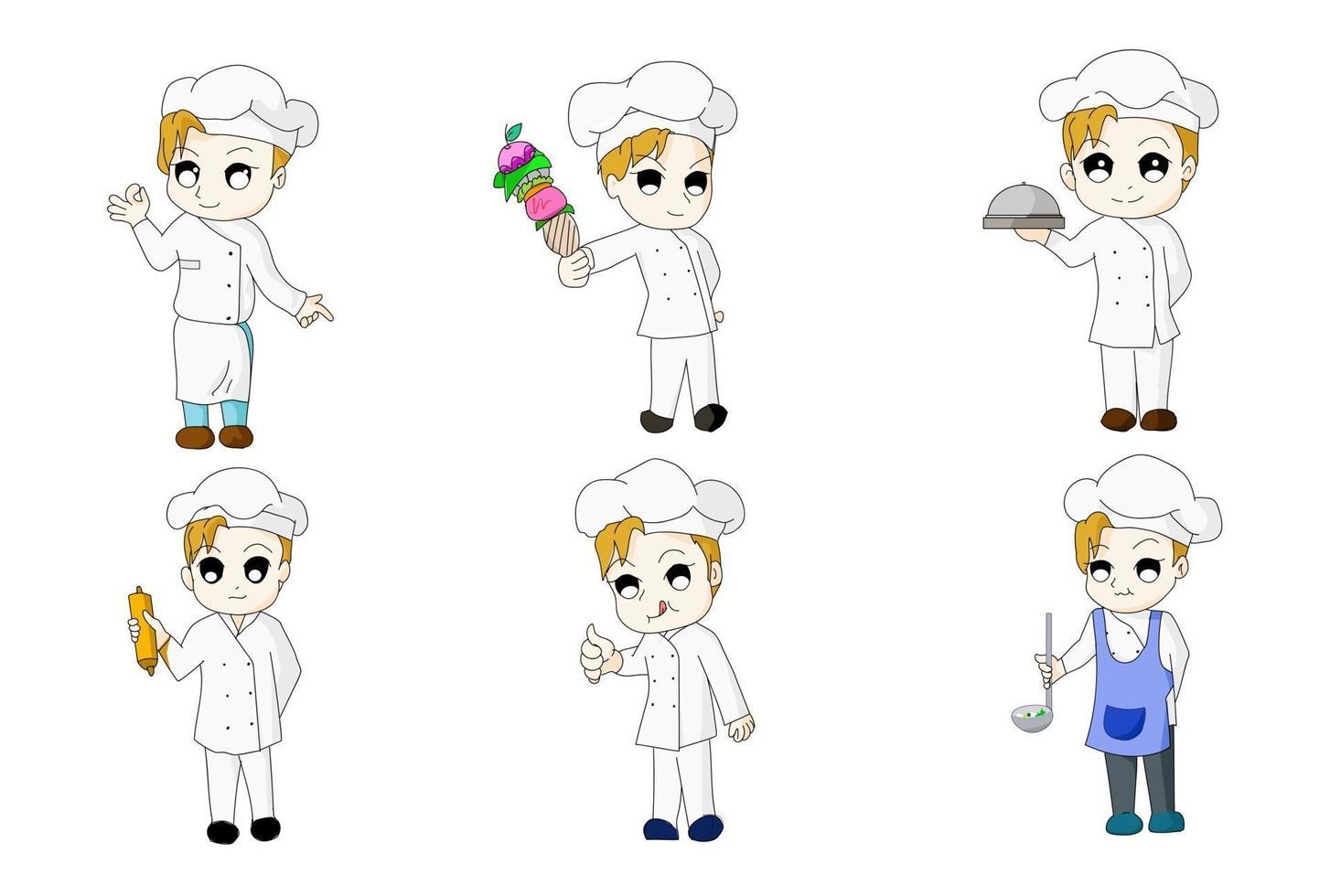 chef six version bundle anime chi-bi ensemble vecteur