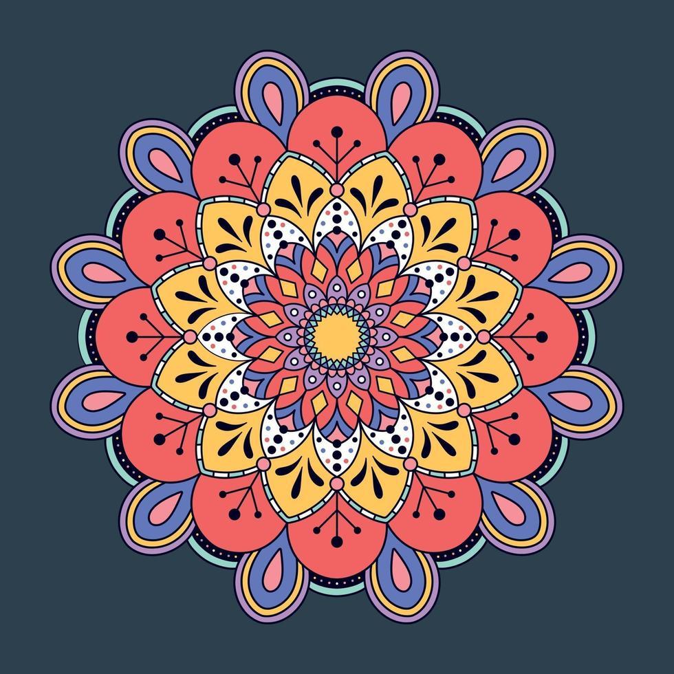 fond de mandala coloré dessiné à la main. vecteur