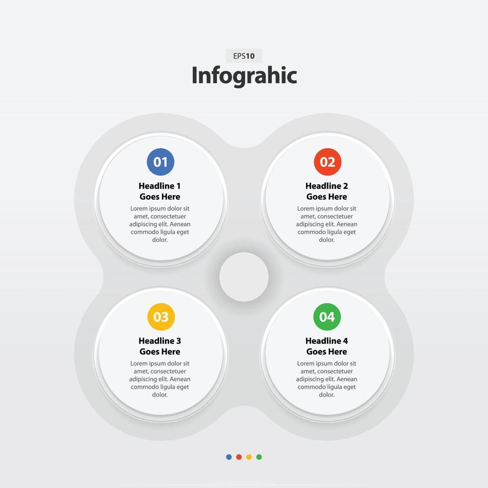 modèle d'infographie d'entreprise en 4 étapes vecteur