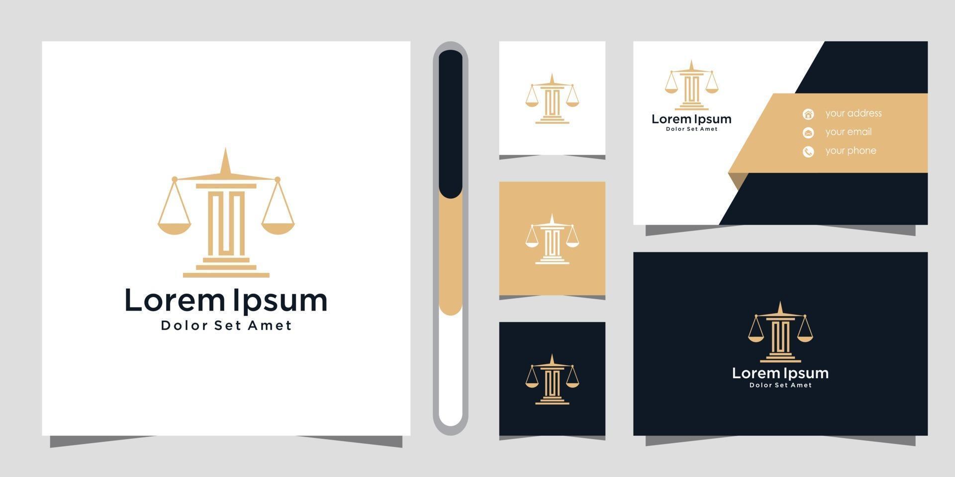 modèle de conception de logo et carte de visite de cabinet d'avocats vecteur