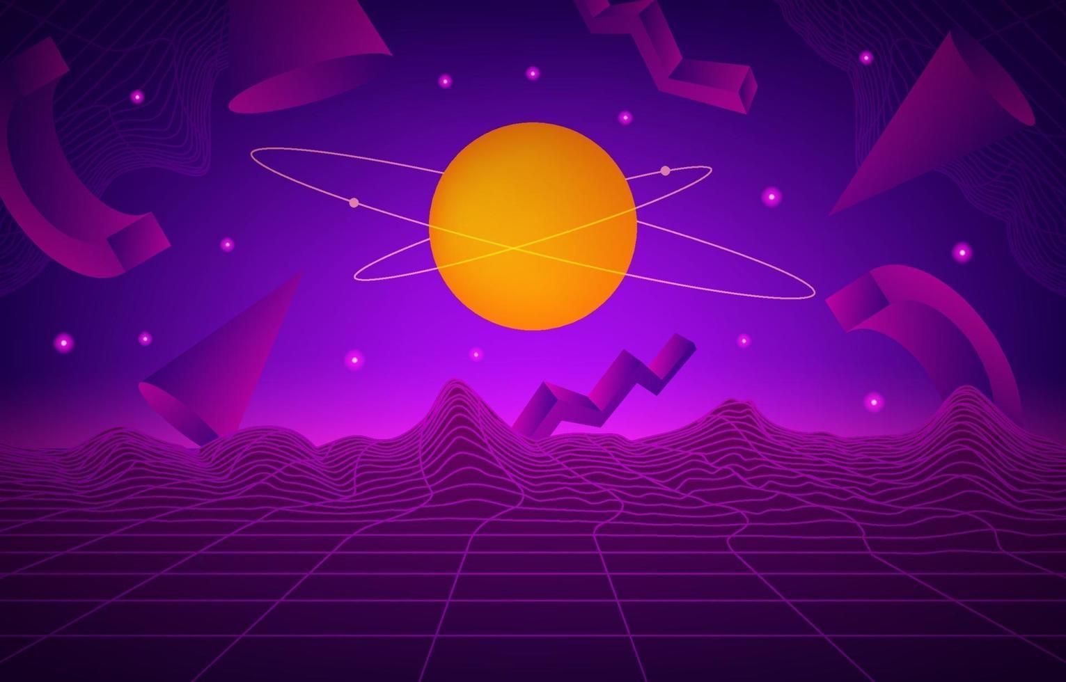 futurisme rétro abstrait avec fond violet vecteur