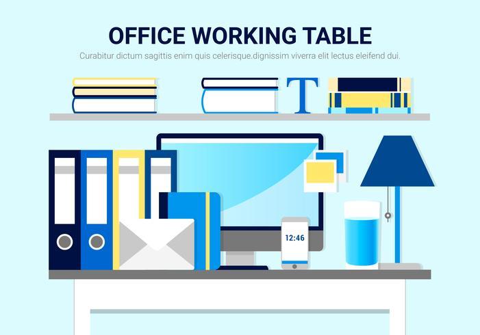 Table de travail de bureau de vecteur