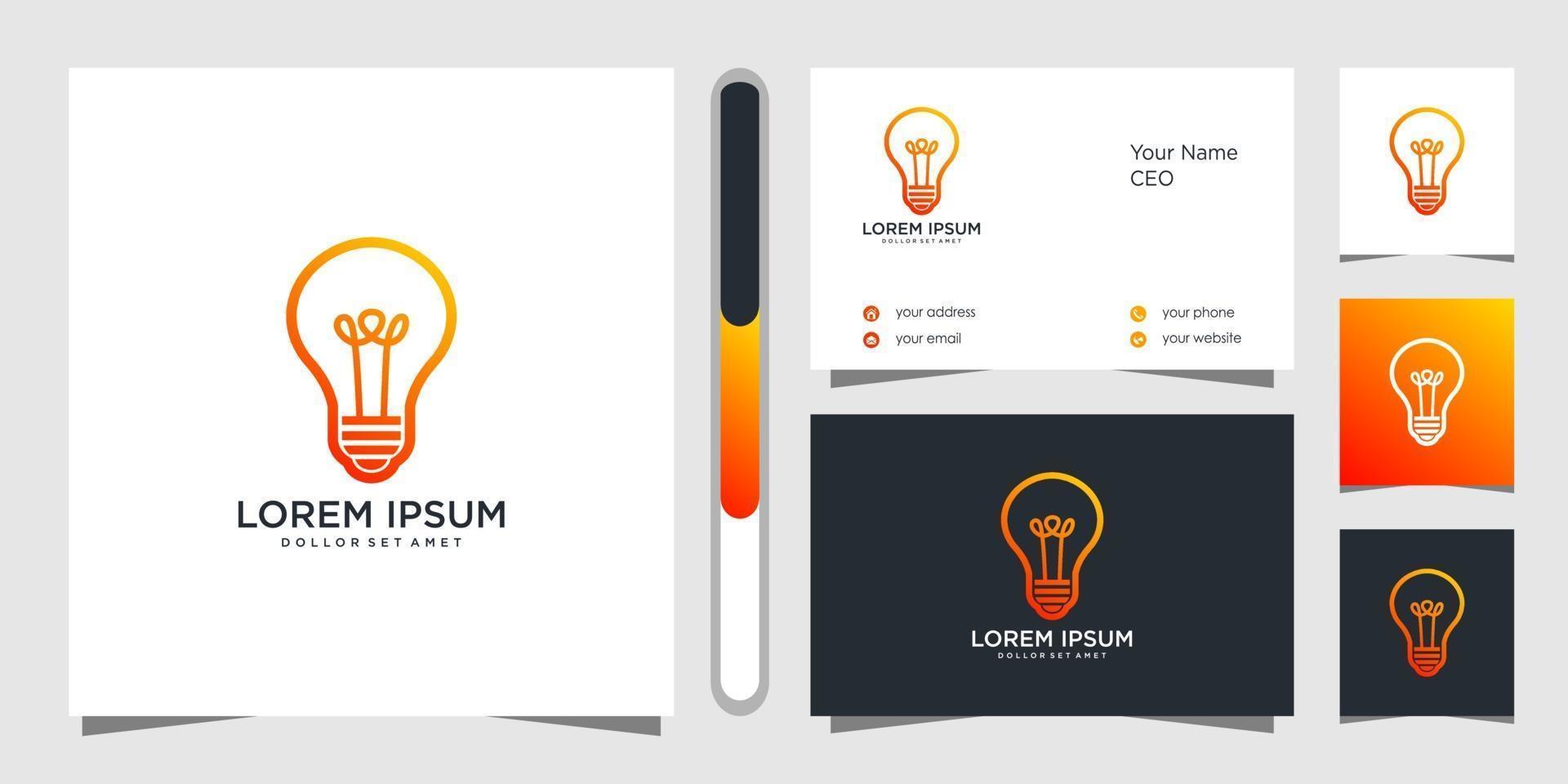 conception de logo créatif ampoule et carte de visite vecteur