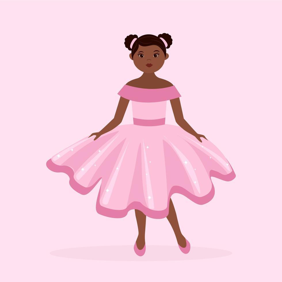 petite fille noire princesse vêtue d'une robe de bal rose vecteur