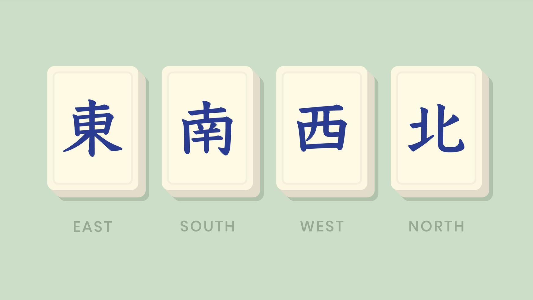 mahjong honore les tuiles vents vecteur
