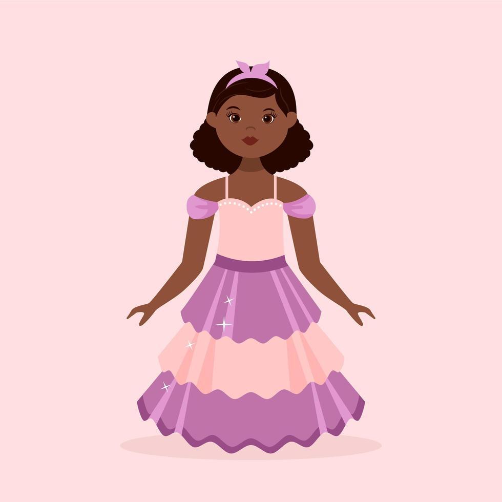 petite fille noire vêtue d'une robe de princesse vecteur