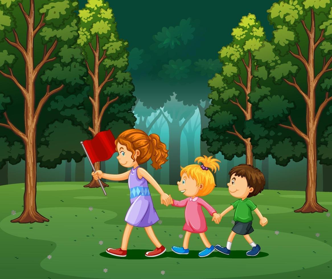 scène avec des enfants en randonnée dans la forêt vecteur