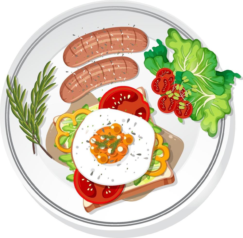 petit déjeuner sur le plat isolé vecteur