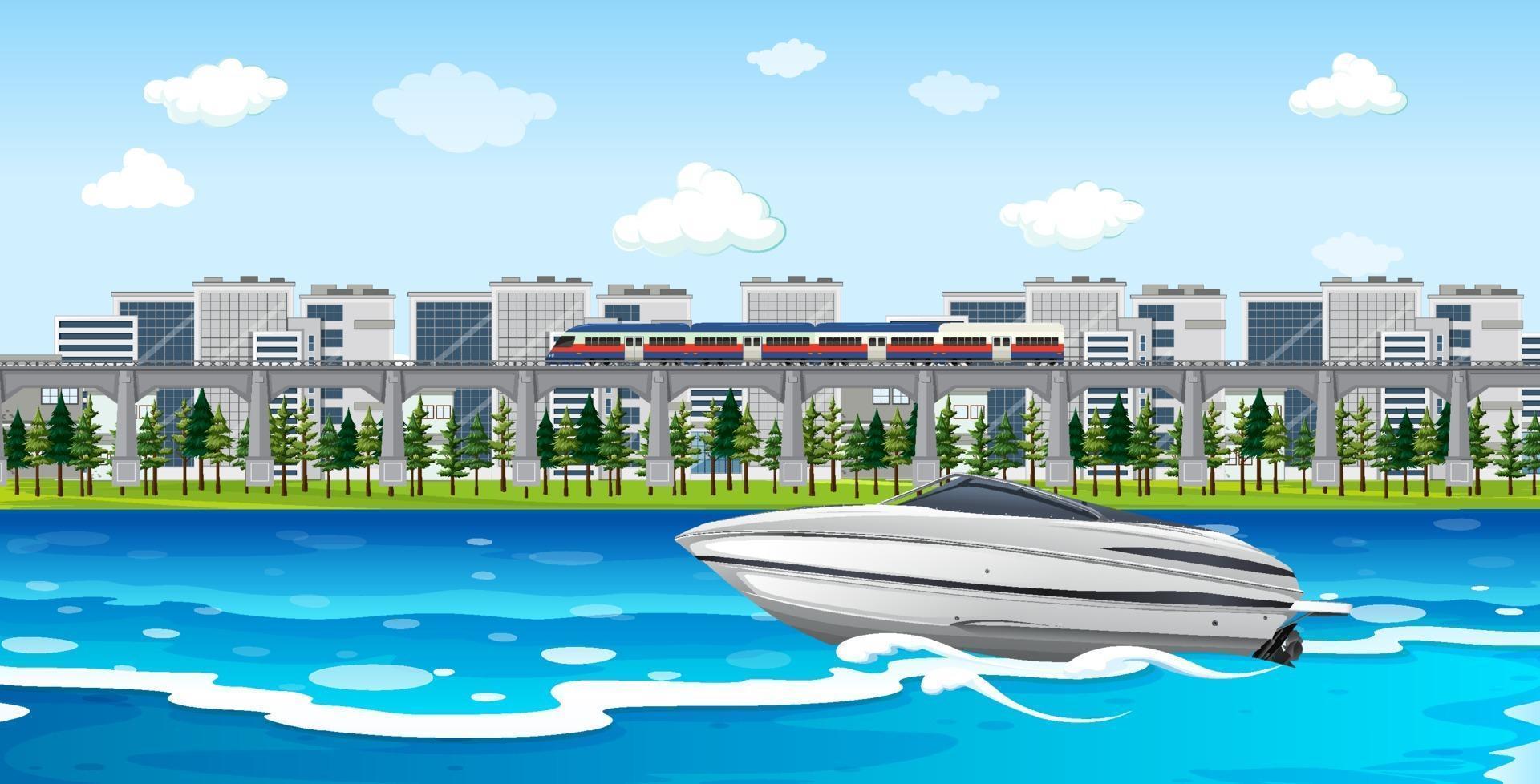 scène de ville fluviale avec un bateau rapide vecteur