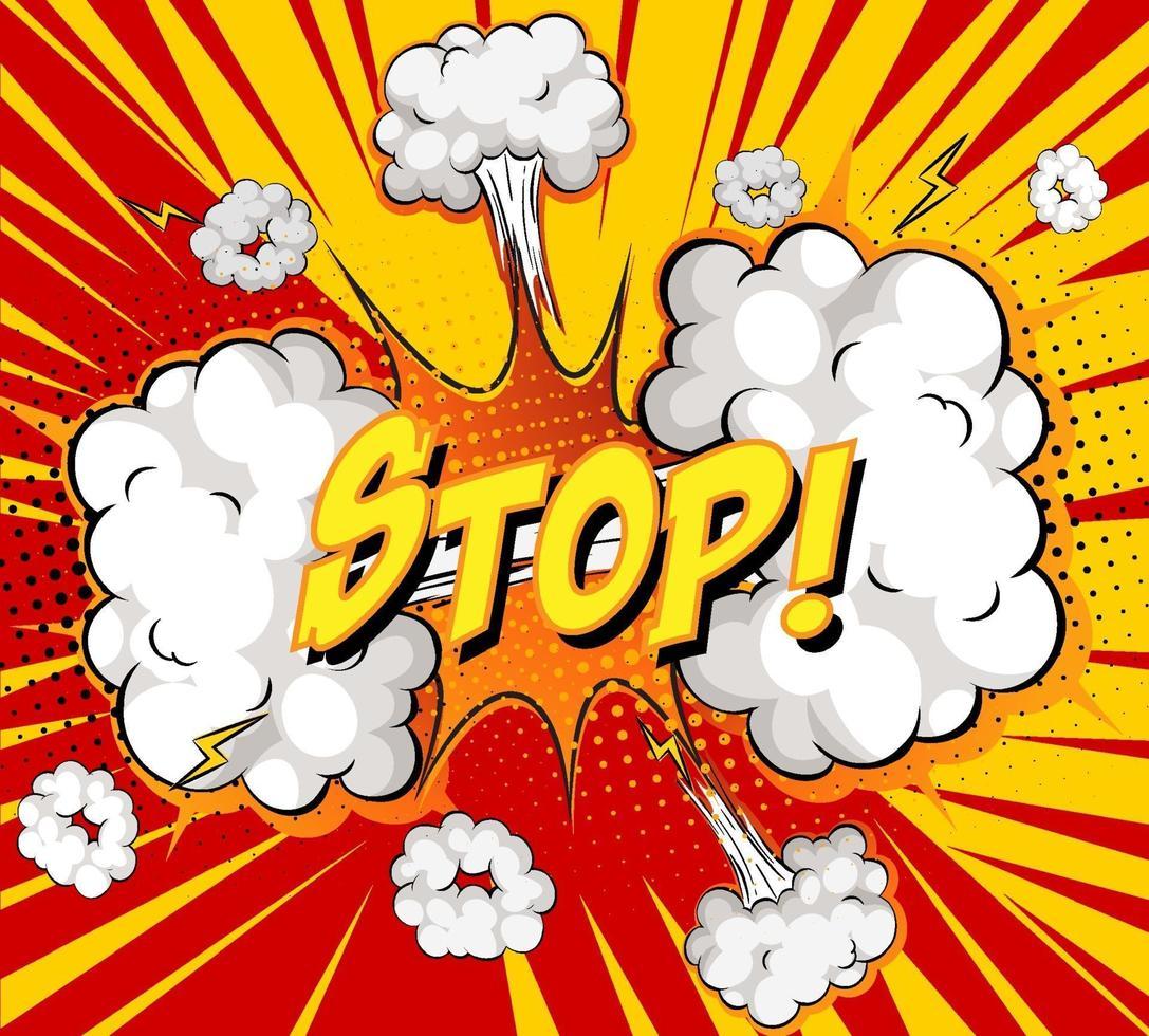 arrêter le texte sur l'explosion de nuage comique sur fond de rayons vecteur