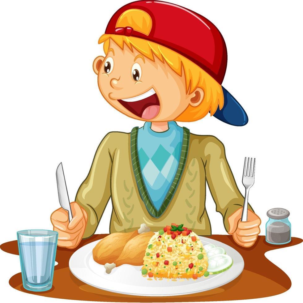 un garçon ayant un repas à la table sur fond blanc vecteur
