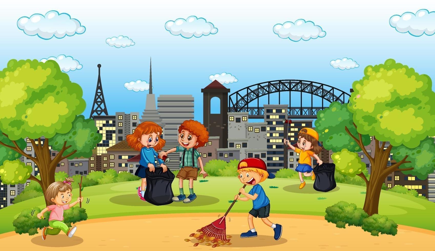 scène avec de nombreux enfants nettoyant dans le parc vecteur