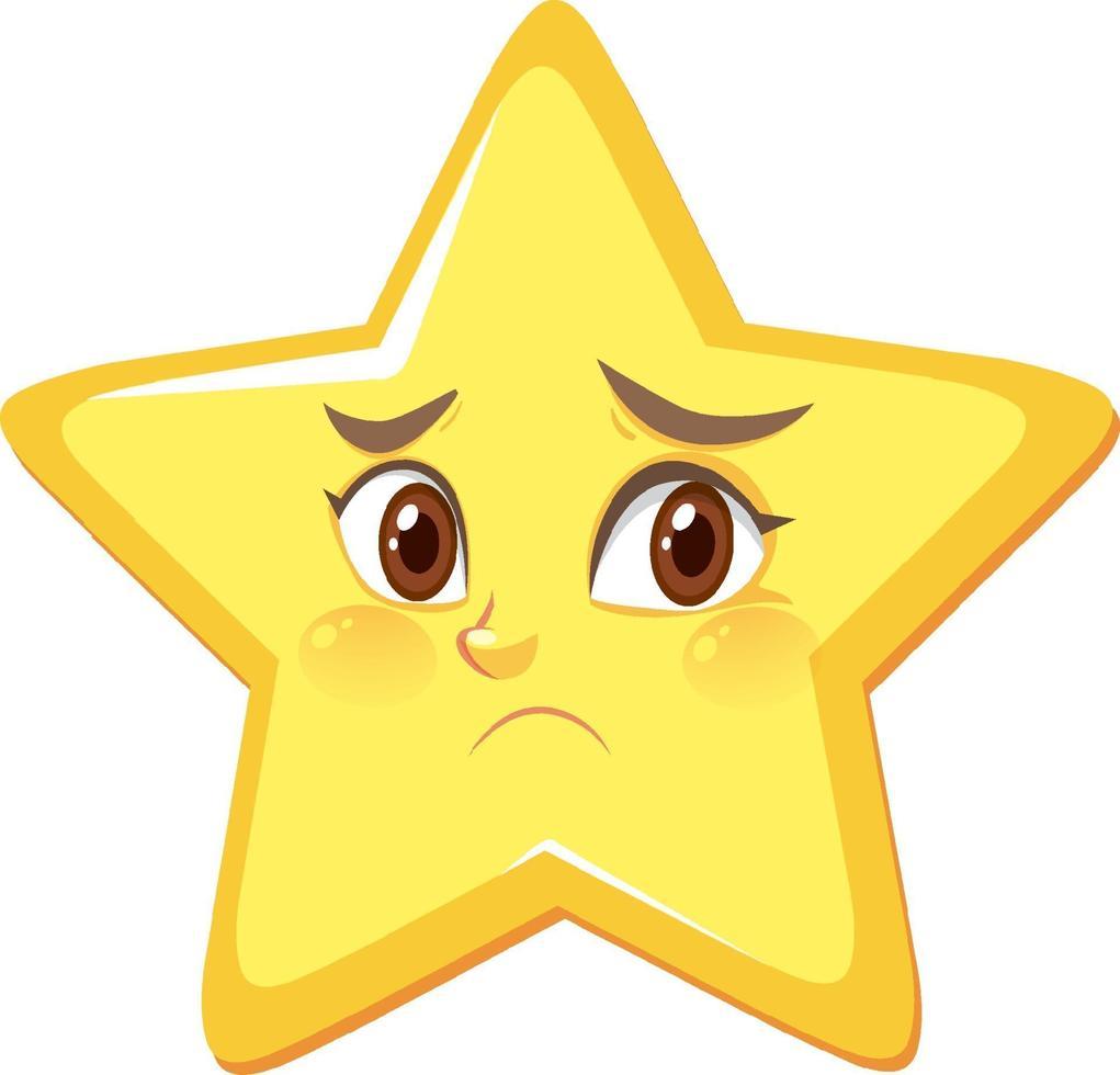 personnage de dessin animé étoile avec une expression de visage déçu sur fond blanc vecteur