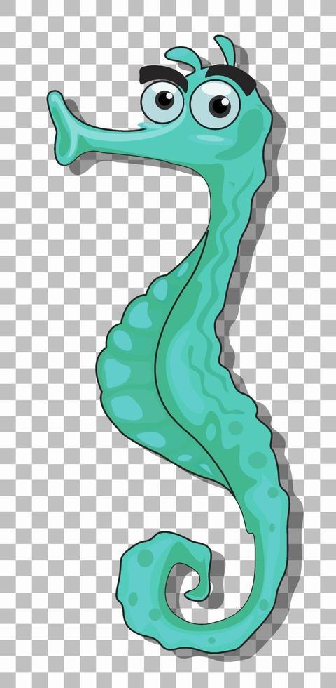 personnage de dessin animé hippocampe vert isolé sur fond transparent vecteur