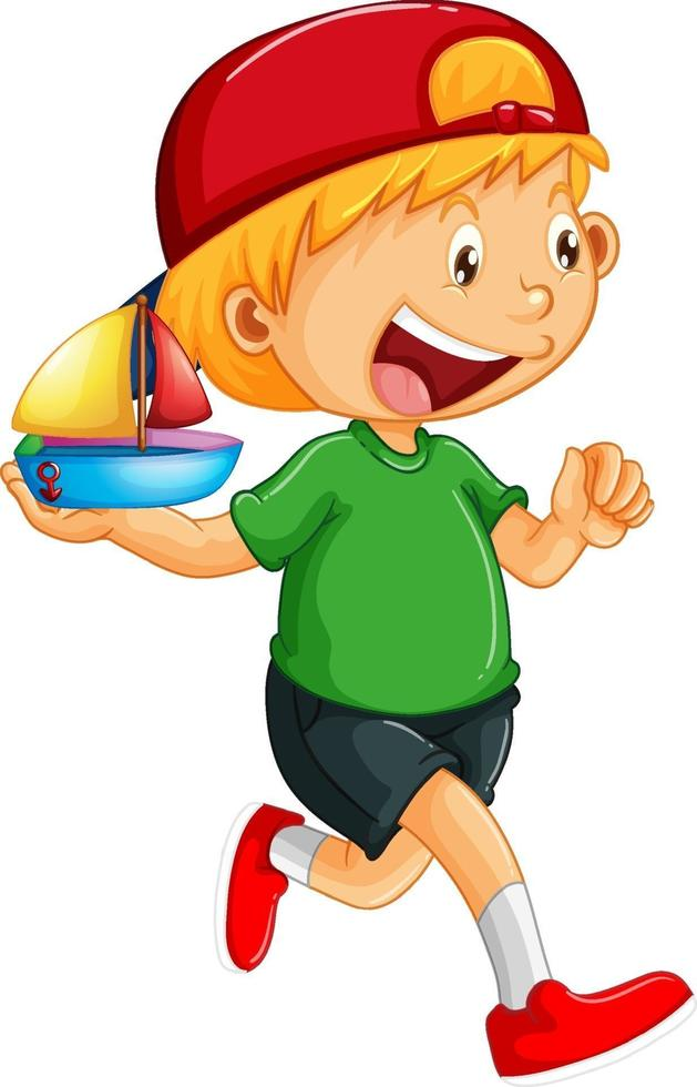 Un garçon tenant un personnage de dessin animé de jouet bateau isolé sur fond blanc vecteur