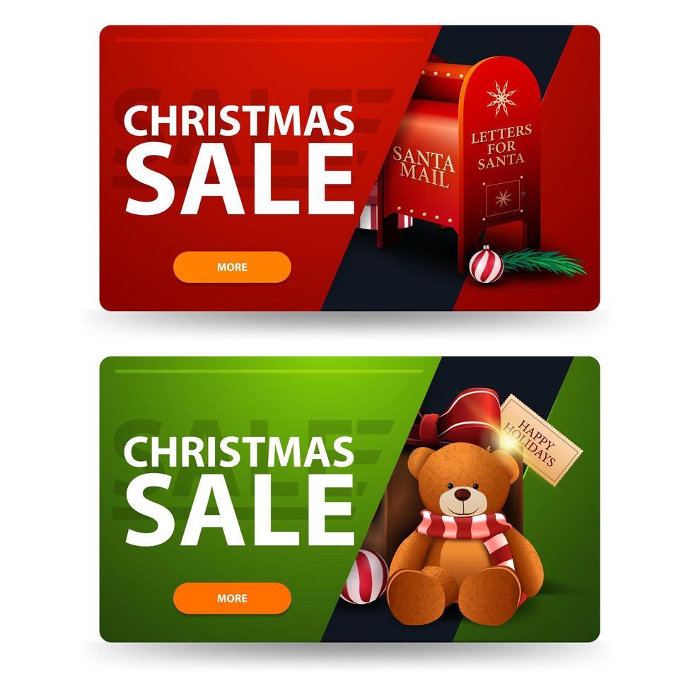 Bannières de réduction de Noël rouge et vert avec boutons, boîte aux lettres du père Noël et cadeau avec ours en peluche vecteur