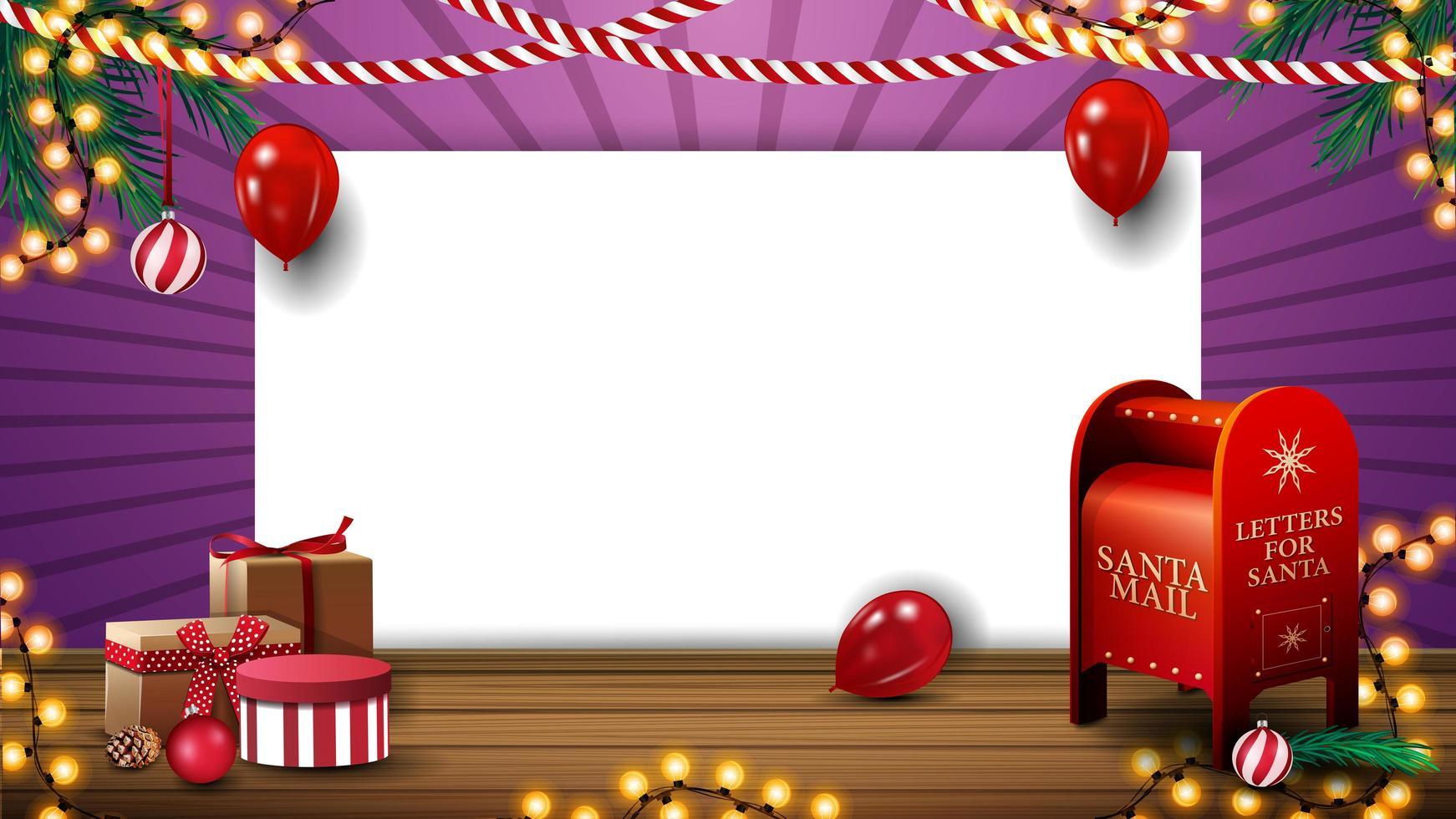 modèle de Noël pour votre créativité avec une feuille de papier vierge blanche, des ballons, des guirlandes, des cadeaux et une boîte aux lettres du père Noël vecteur