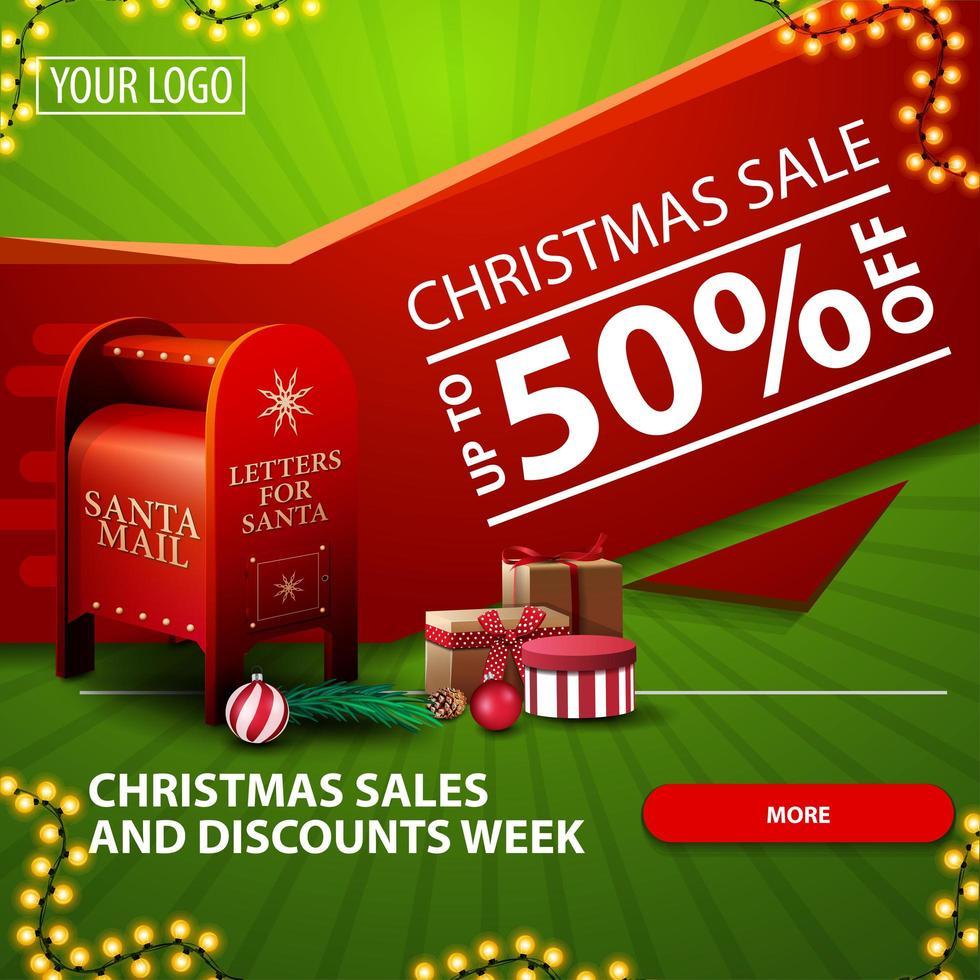 Vente de Noël et semaine de remise, jusqu'à 50 de réduction, bannière web moderne lumineuse verte et rouge avec bouton, guirlande et boîte aux lettres du père Noël avec des cadeaux vecteur