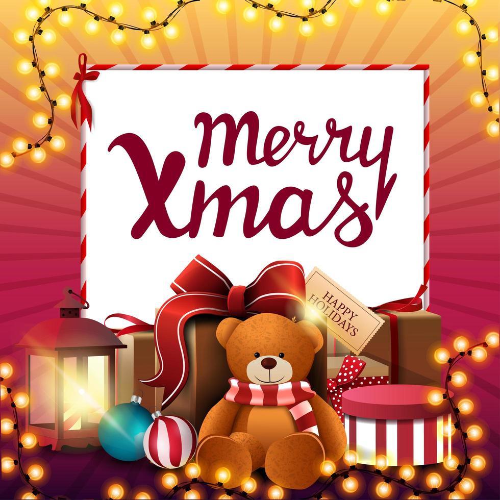 joyeux noël, bannière de réduction carrée rose et jaune avec guirlande de noël, feuille de papier blanc et plus de cadeaux vecteur