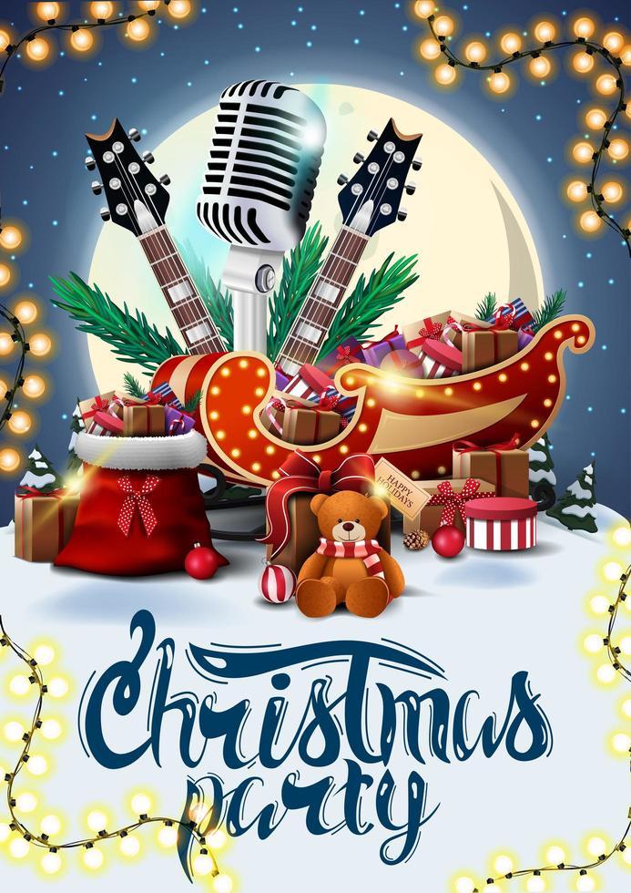 fête de noël, affiche avec paysage d'hiver, grande lune jaune, guitares, microphone, sac du père noël et traîneau du père noël avec des cadeaux vecteur