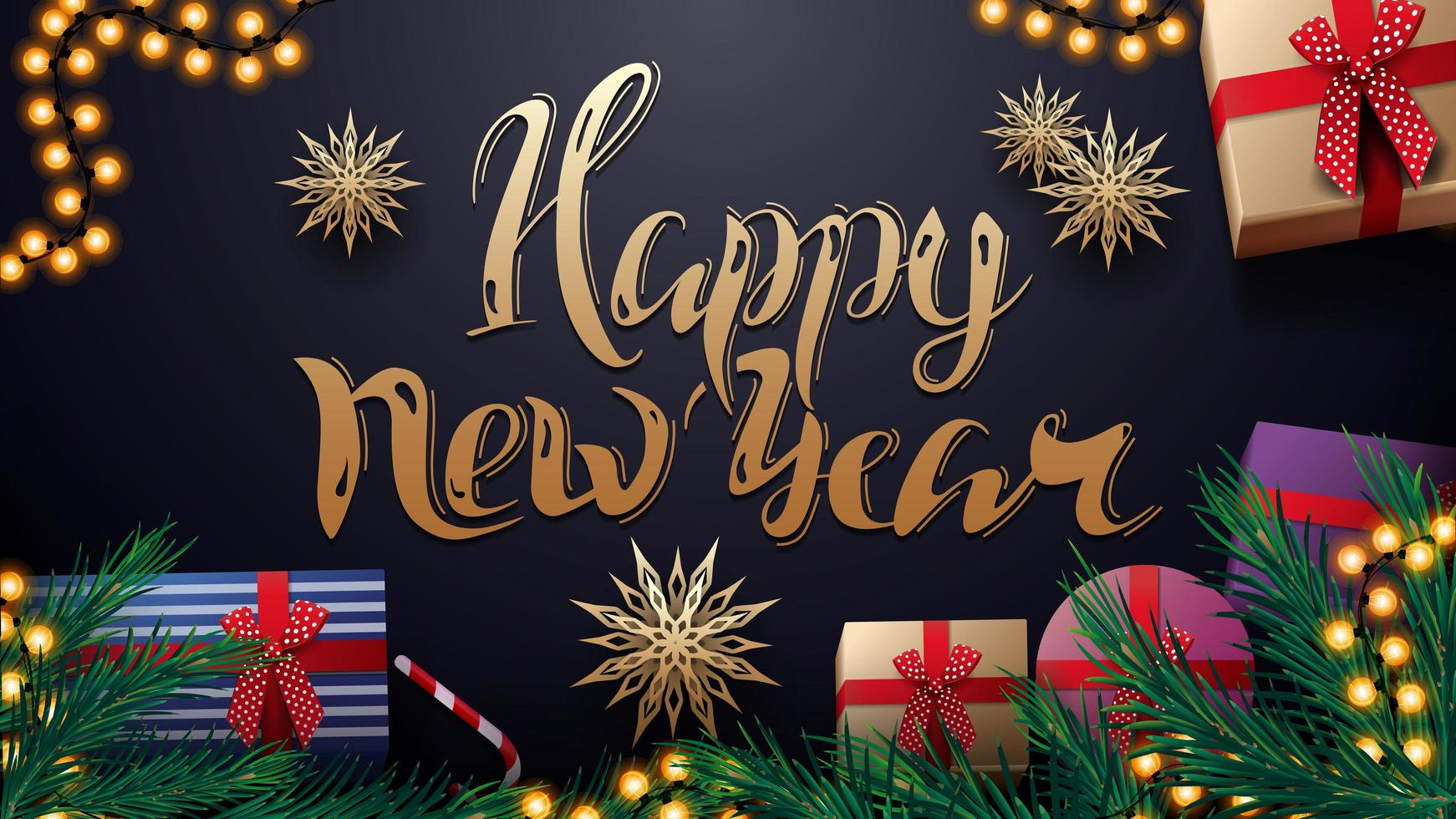 Bonne année, carte postale bleu foncé avec guirlande, flocons de neige en papier or, titre en or et cadeaux avec des branches d'arbre de Noël, vue de dessus vecteur