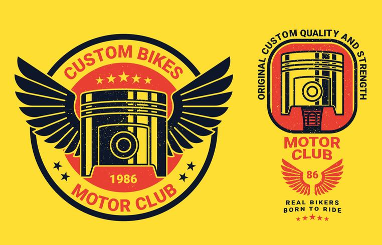 Étiquettes d'emblèmes de vélos à piston Vintage vecteur