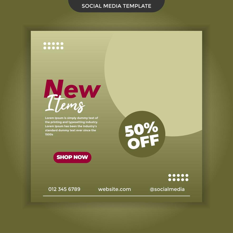 nouvel élément de modèle de médias sociaux. vecteur premium