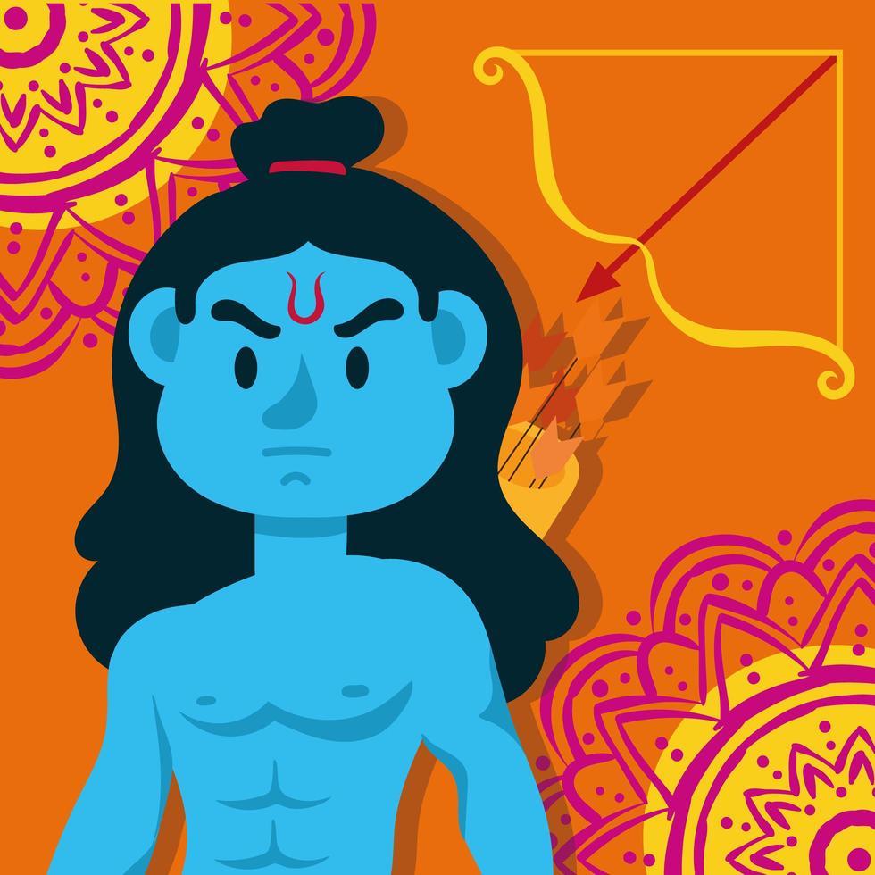 Bonne fête de dussehra avec le personnage bleu de Lord Rama en fond orange vecteur