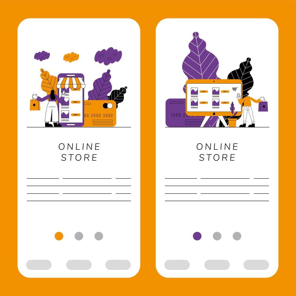 ensemble de bannière de boutique en ligne vecteur