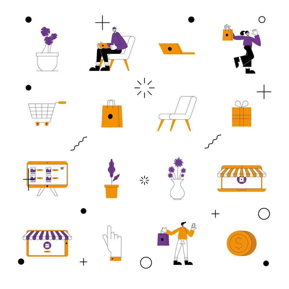 jeu d'icônes de boutique en ligne vecteur