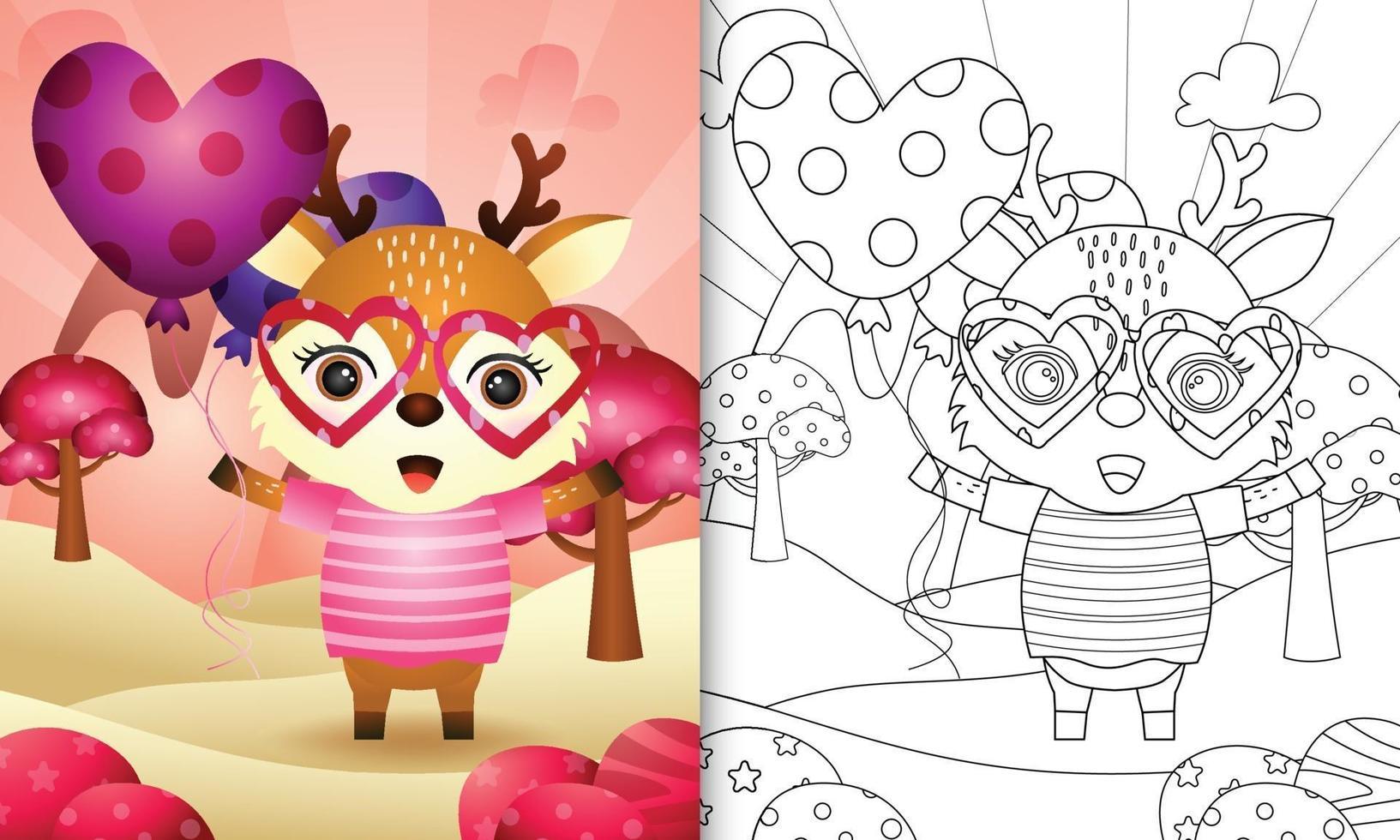 livre de coloriage pour les enfants avec un joli cerf tenant un ballon pour la saint valentin vecteur