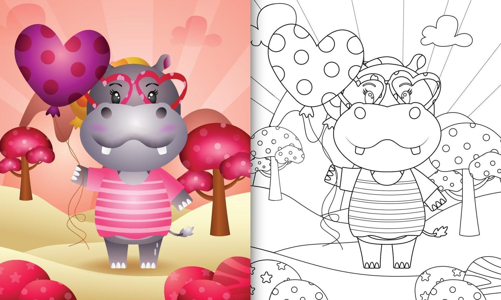 livre de coloriage pour les enfants avec un joli ballon tenant un hippopotame pour la Saint Valentin vecteur
