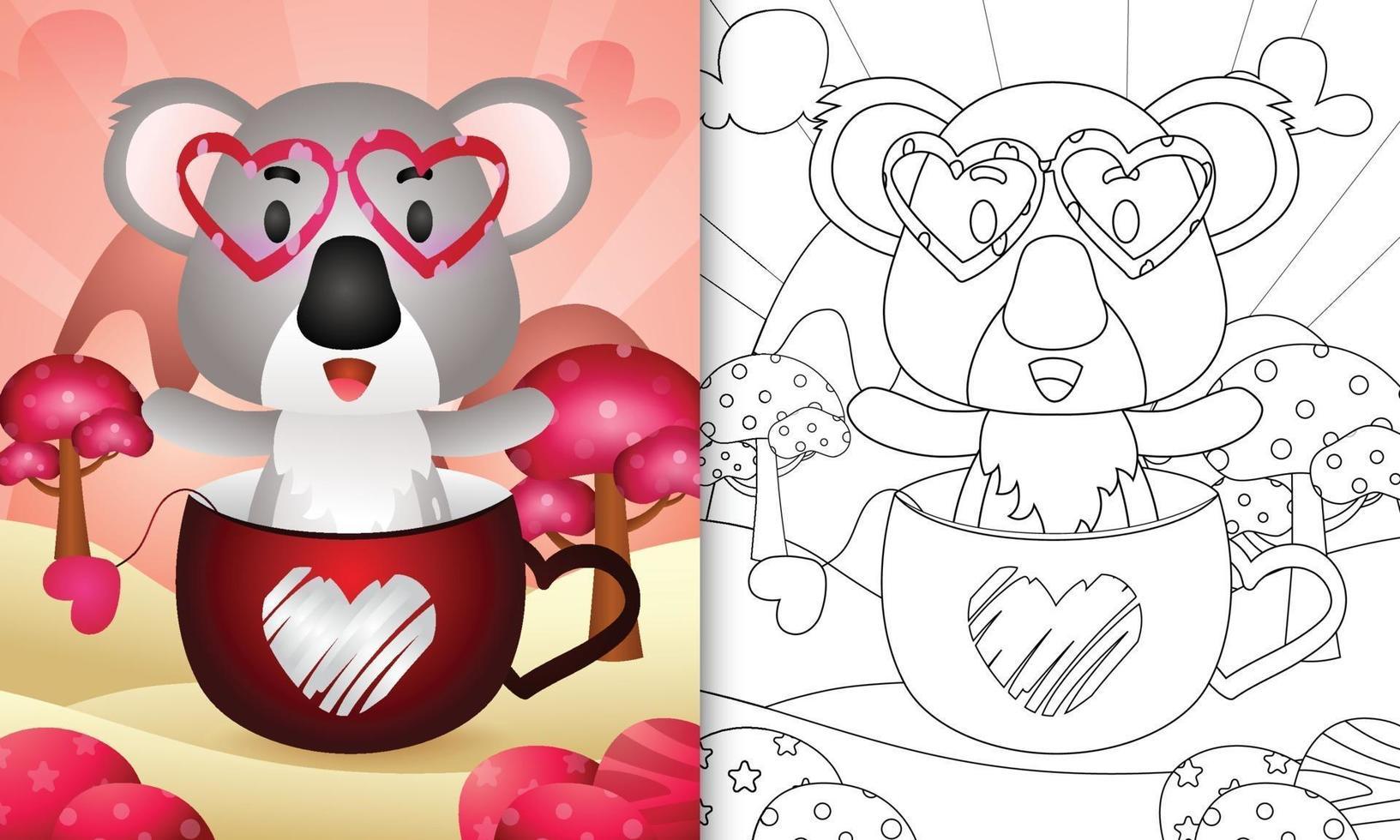 livre de coloriage pour les enfants avec un koala mignon dans la tasse pour la Saint-Valentin vecteur