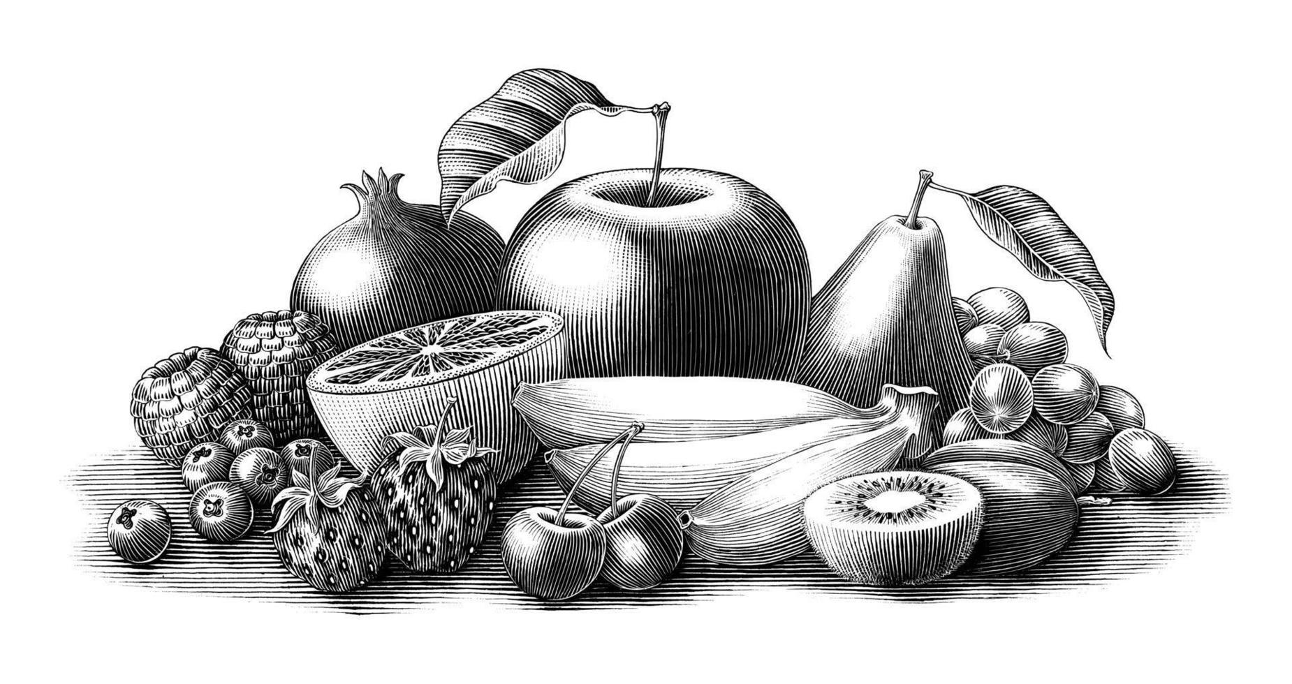 Illustration de fruits vintage style gravure clip noir et blanc isolé sur fond blanc vecteur