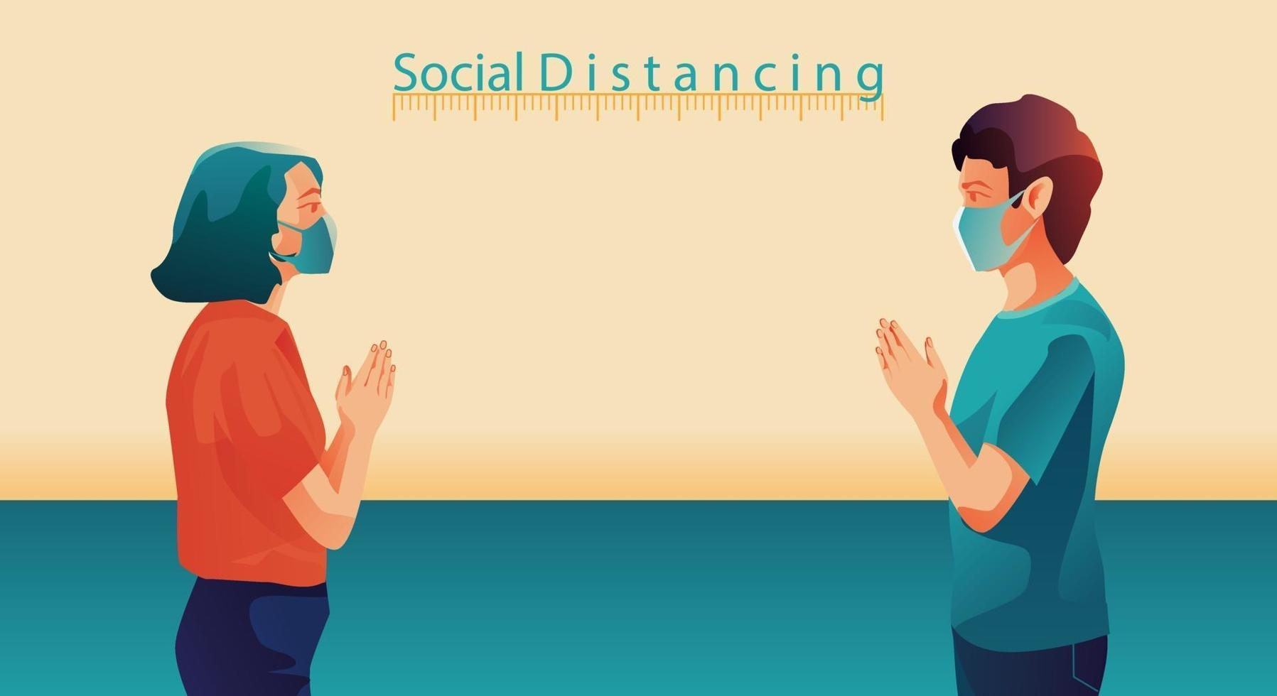 distanciation sociale, les gens gardent leurs distances et évitent le contact physique, la poignée de main ou le toucher de la main pour se protéger du concept de propagation du coronavirus covid-19, les gens utilisent la salutation thaïlandaise de sawasdee vecteur