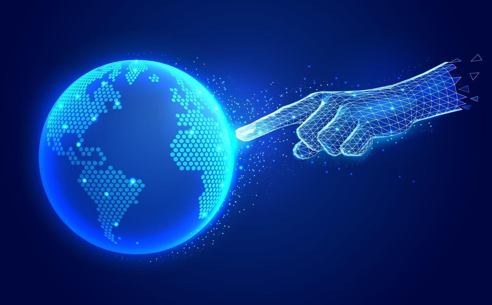 concept de technologie de communication numérique intelligence artificielle. doigt main toucher numérique global carte polygonale illustrations vectorielles filaire. vecteur