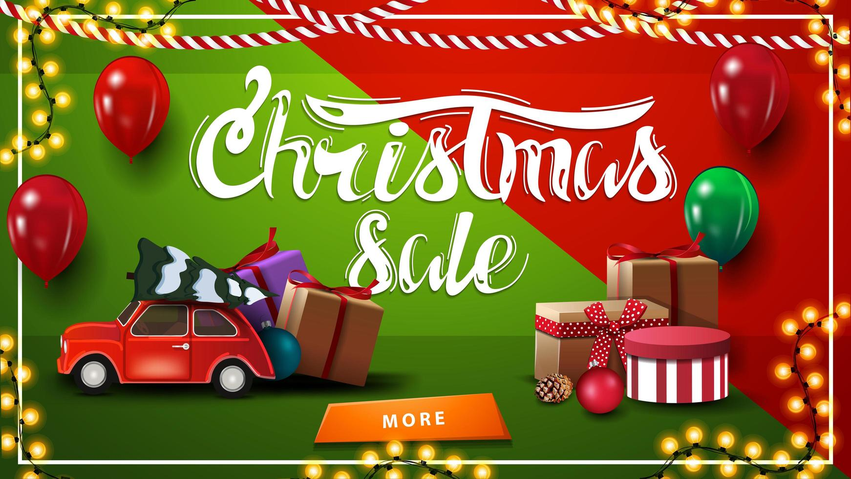 vente de Noël. Bannière de remise horizontale rouge et verte avec guirlande, ballons, cadeaux, bouton et voiture vintage rouge transportant l'arbre de Noël vecteur