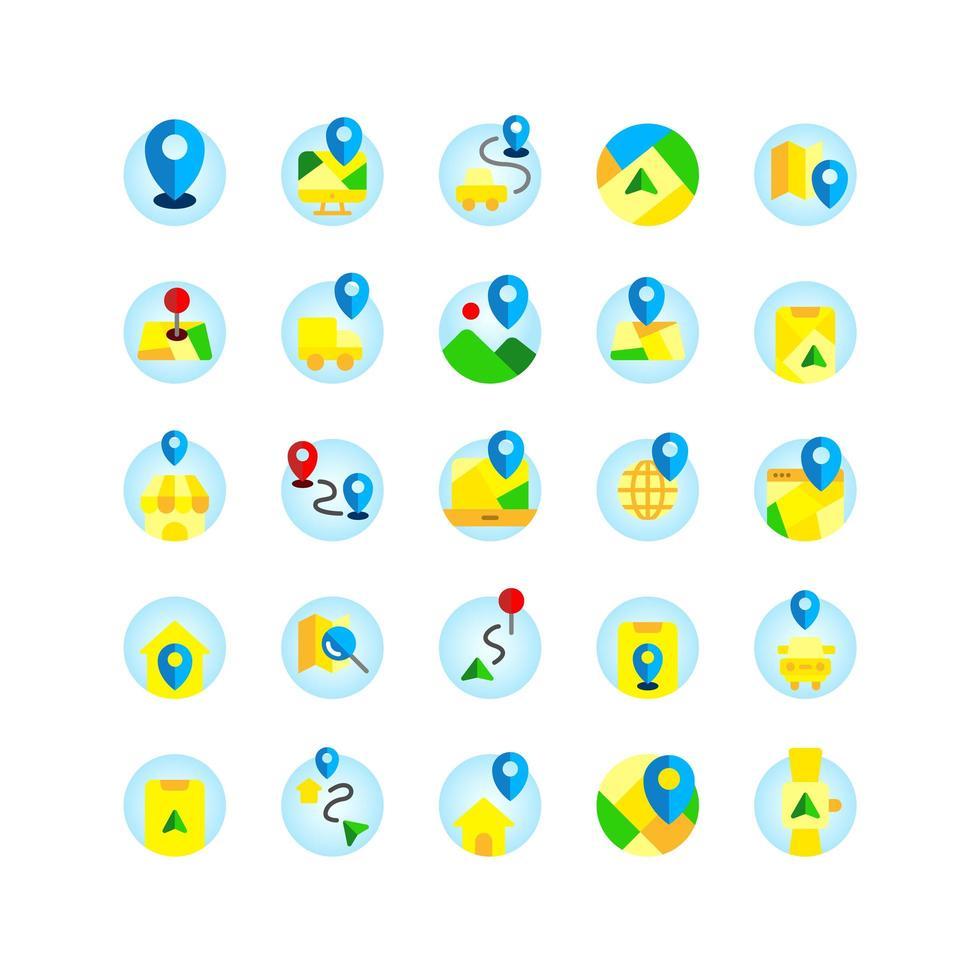emplacement et carte jeu d'icônes plat. vecteur et illustration.