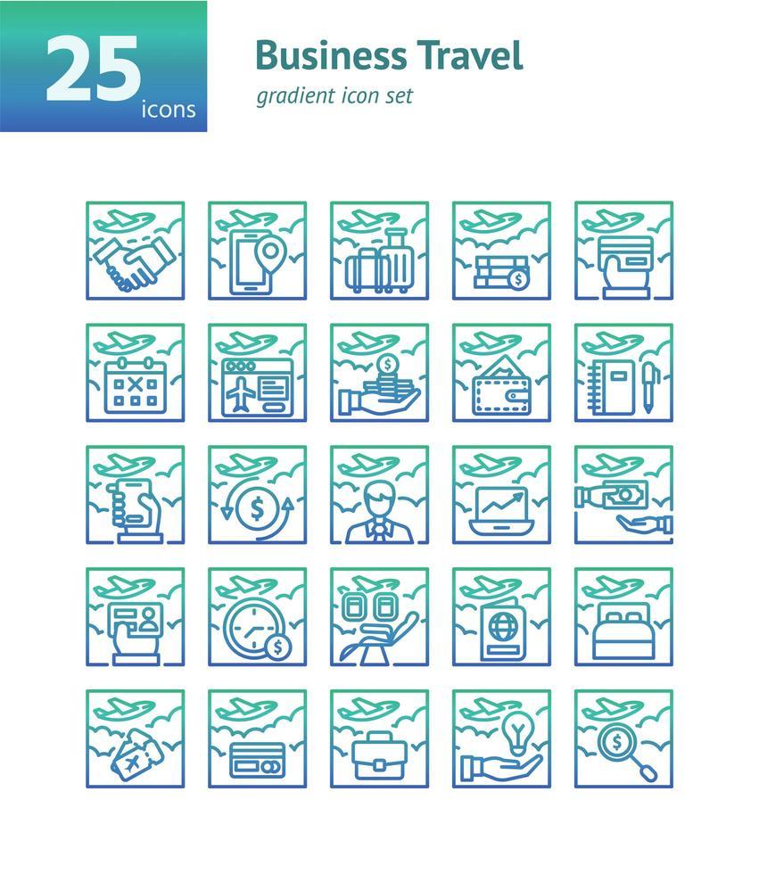 jeu d'icônes de dégradé de voyage d'affaires. vecteur et illustration.
