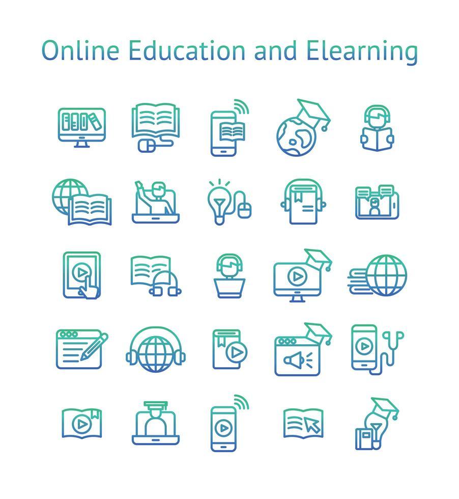 jeu d'icônes de gradient d'éducation et d'apprentissage en ligne. vecteur