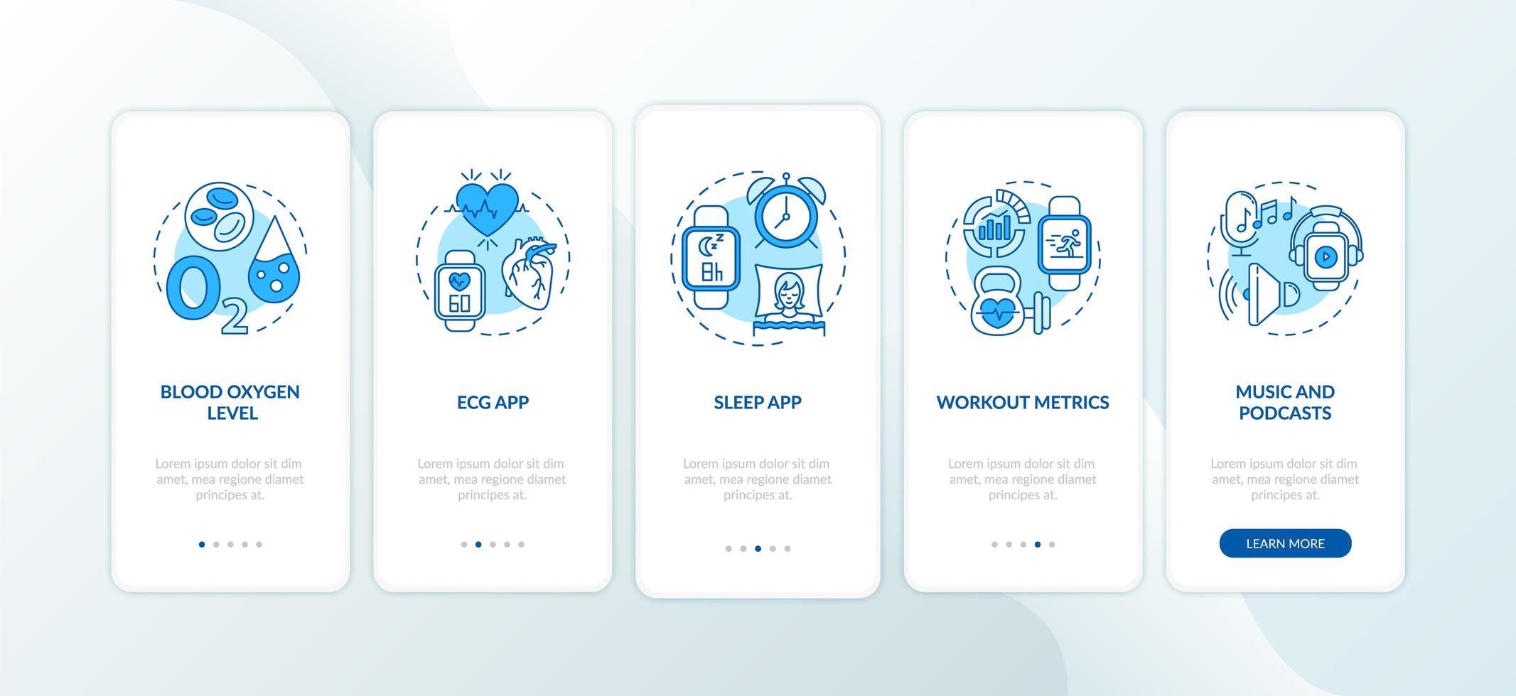 Fonctions de la montre intelligente écran de la page de l'application mobile d'intégration avec concepts vecteur