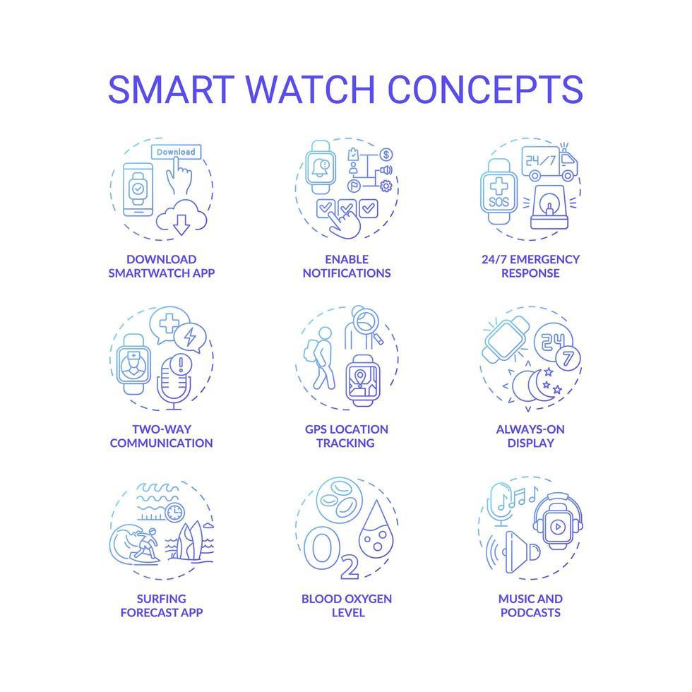 jeu d & # 39; icônes de concept de montre intelligente vecteur