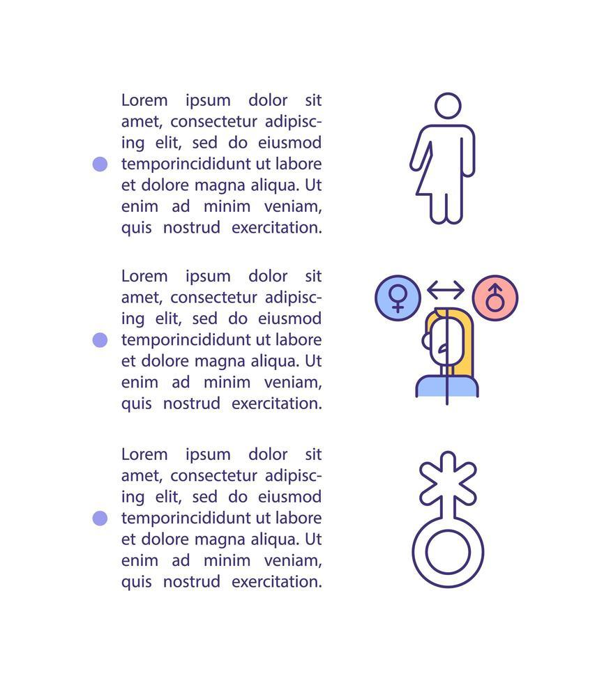 icône de concept de transition de genre avec texte vecteur