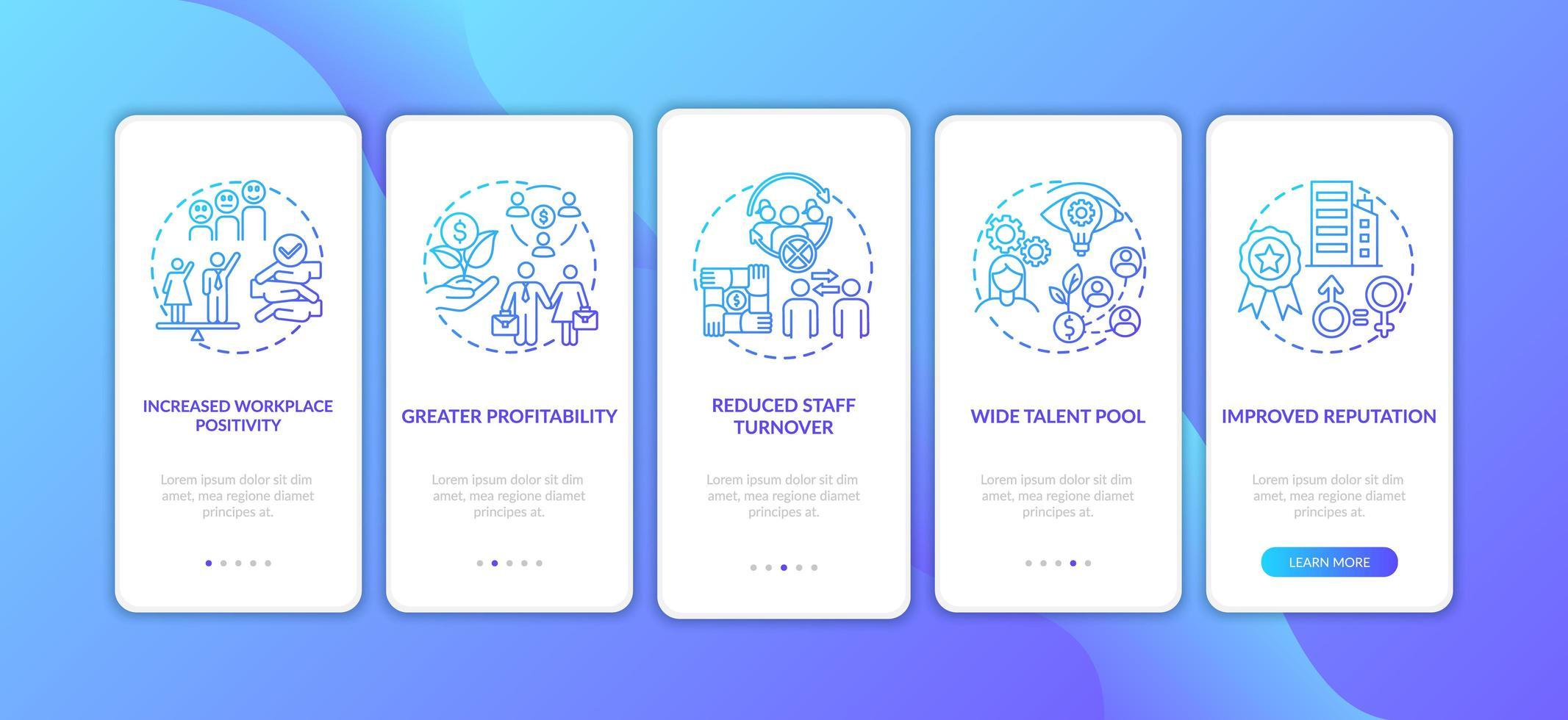 Avantages de la politique de diversité de genre Écran de la page de l'application mobile d'intégration avec des concepts vecteur