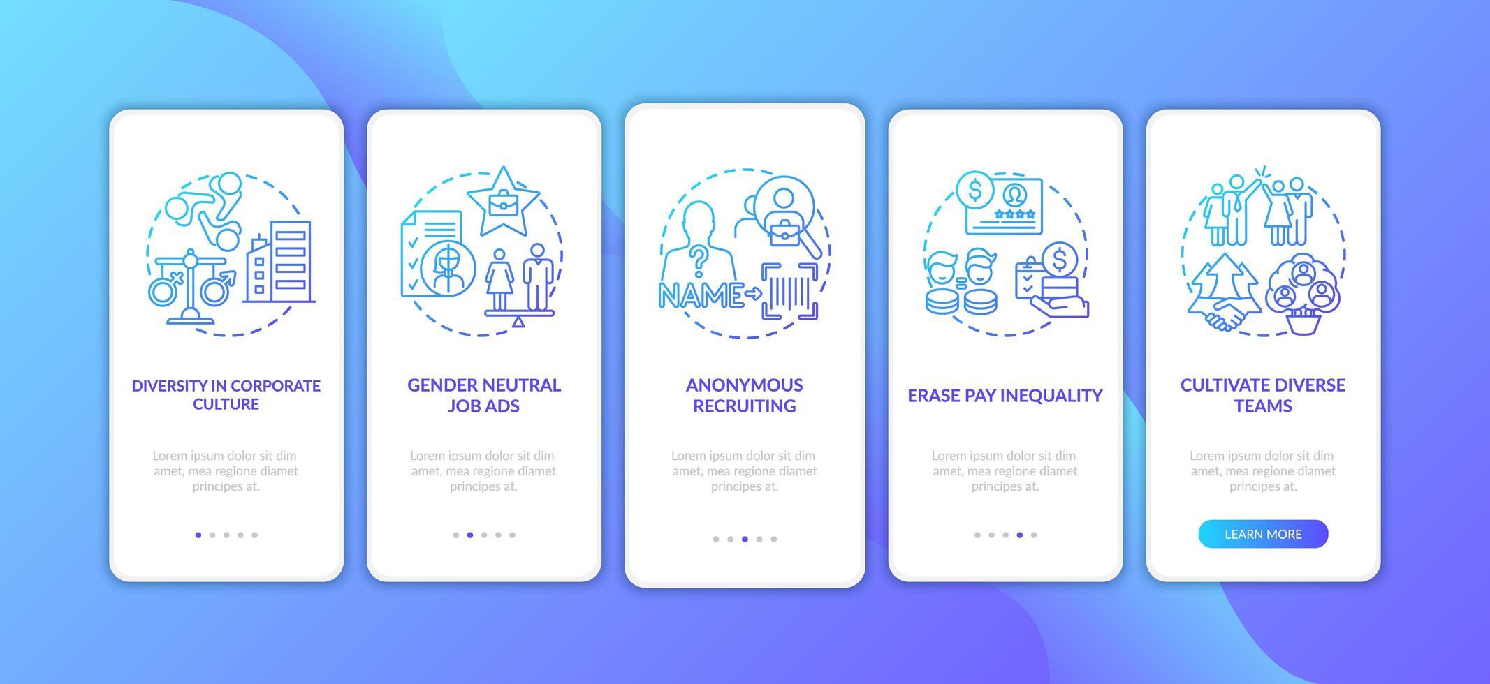 Conseils de mise en œuvre de la diversité des genres Écran de la page de l'application mobile d'intégration avec des concepts vecteur