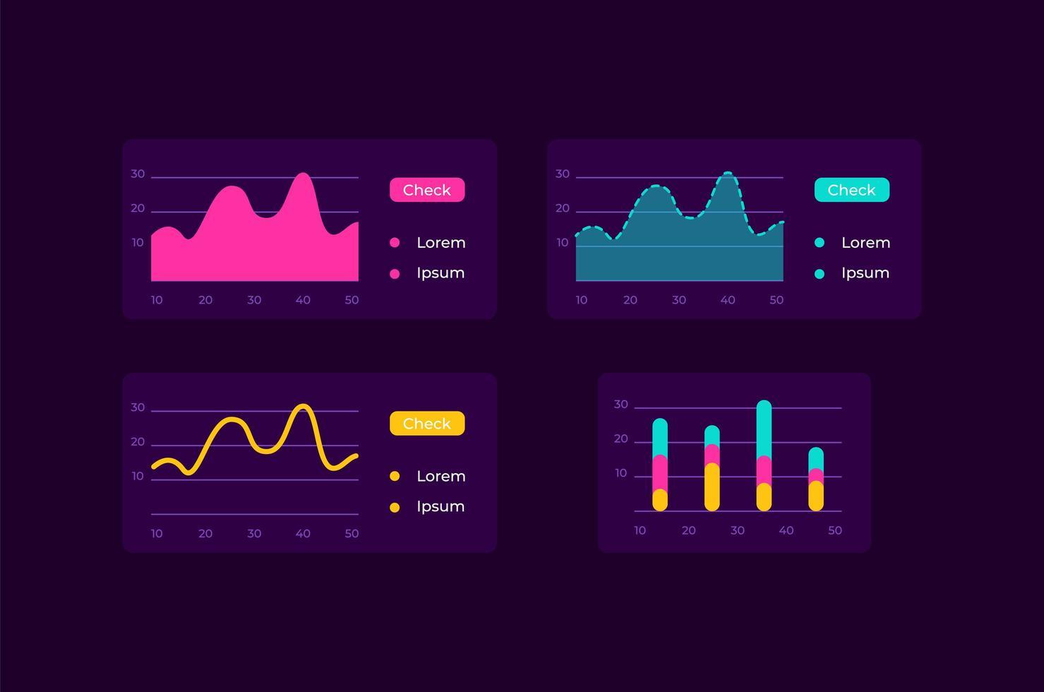kit d'éléments d'interface utilisateur infocharts vecteur