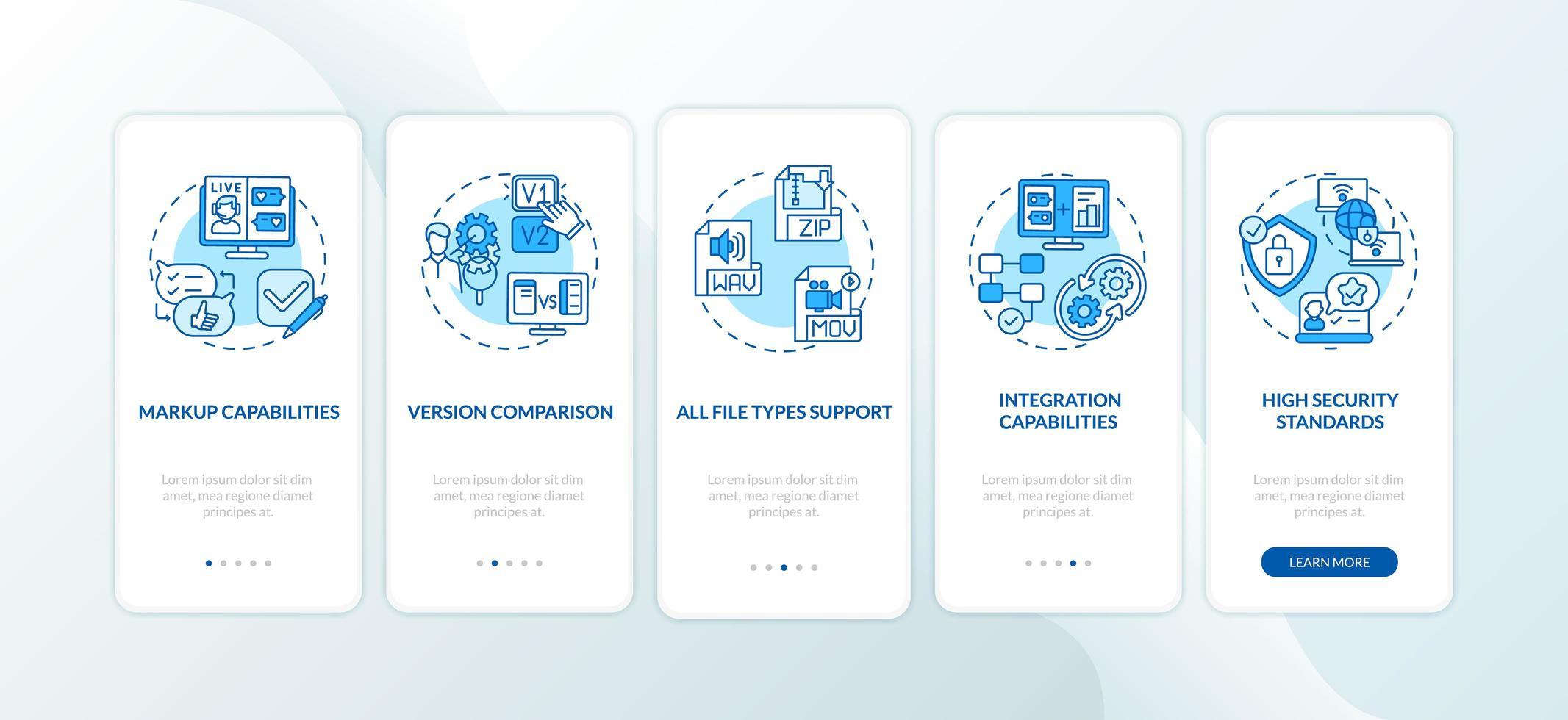 Écran de la page de l'application mobile d'intégration des fonctionnalités de l'outil de révision en ligne avec concepts vecteur